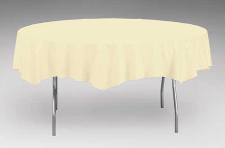 Ivory eggshell plastic backed paper lined tablecloths 54 for 108 inch round tablecloth fits what size table