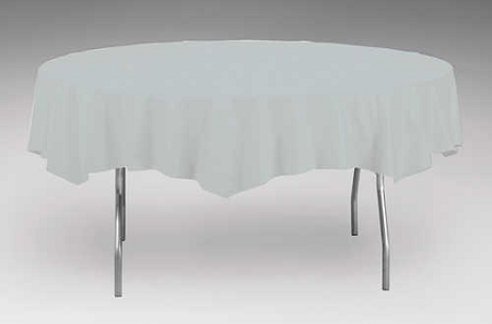 Silver Gray Grey Plastic Backed Paper Lined Tablecloths 54