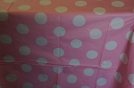 Polka dot tablecloth PINK/WHITE plastic