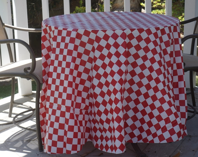 Red and white checker plastic table covers