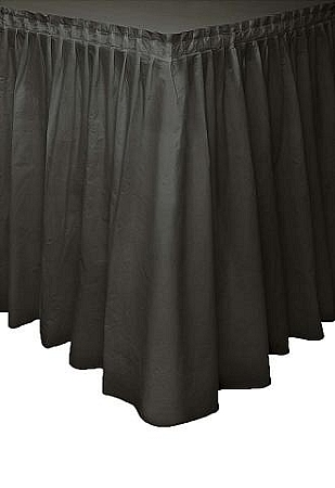 BLACK plastic tableskirt