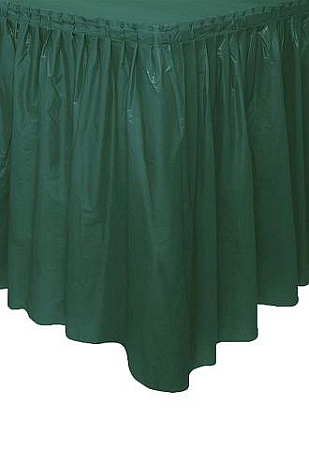 HUNTER GREEN plastic tableskirt