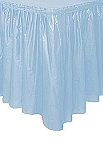 LIGHT BLUE plastic tableskirt