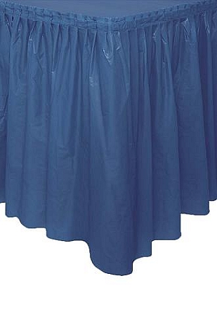 NAVY BLUE plastic tableskirt  OUT OF STOCK TIL LATE OCT