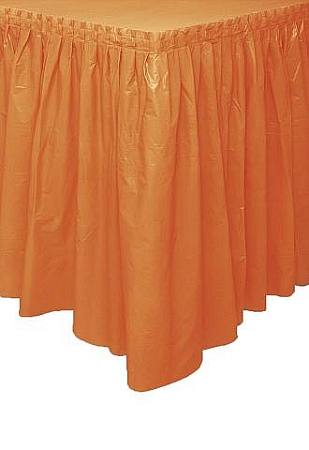 ORANGE plastic tableskirt