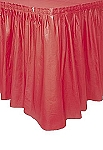 RED plastic tableskirt
