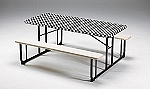 BLACK/WHITE  check stay put elastic fitted tablecover 6' table 29