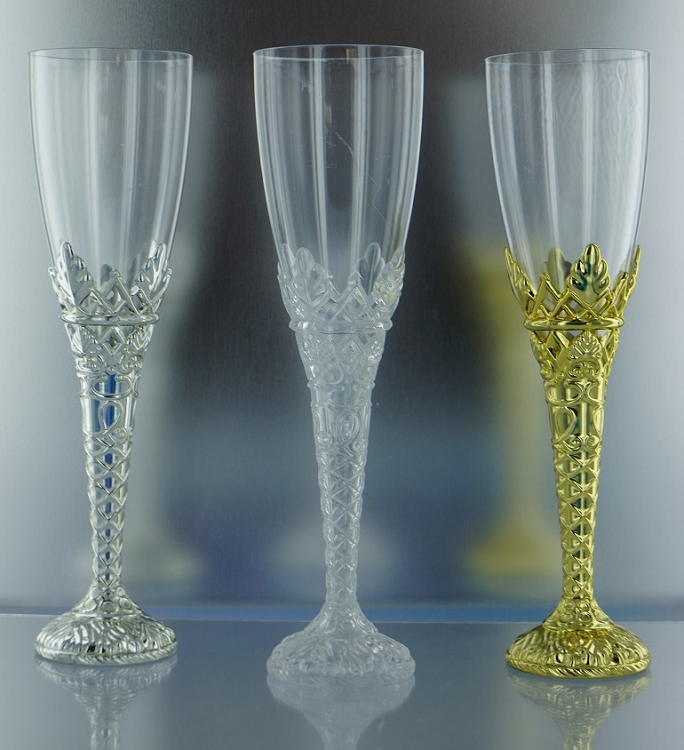 gold silver clear plastic disposable economy champagne flutes. Black Bedroom Furniture Sets. Home Design Ideas