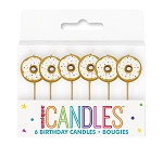 Donut pick birthday candle (6ct)