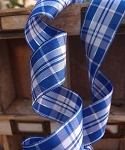 Royal/white Plaid ribbon