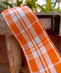 Orange/white Plaid ribbon