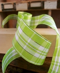 Lime/white Plaid ribbon