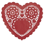 RED 10inch Heart Doilies