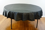 BLACK 84 inch round plastic tablecover