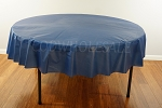 NAVY 84 inch round plastic tablecover