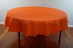ORANGE 84 inch round plastic tablecover