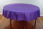 PURPLE 84 inch round plastic tablecover