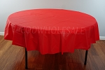 RED 84 inch round plastic tablecover
