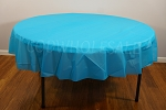 TURQUOISE 84 inch round plastic tablecover