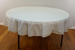 WHITE 84 inch round plastic tablecover