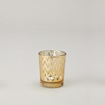 Small Gold Chevron Glass Votive Candle Holder