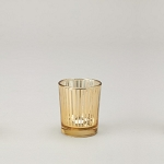 Small Gold Striped Glass Votive Candle Holder