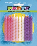 Pink and purple spiral birthday candles