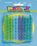 Blue and green spiral birthday candles