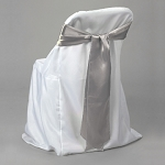 SILVER satin chair bows (6pcs/bag)