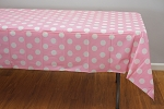 PINK Polka Dot plastic tablecloth