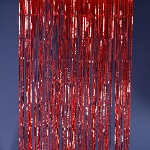 Red metallic fringe curtains