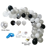 Black and silver balloon garland