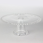 12 inch Glass Beaded Edge Pedestal Cake Stand