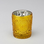 Gold Mercury glass candle holder
