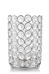 Crystal Gem Pillar Votive Candle Holder 6inch SILVER