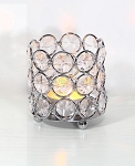 SILVER Crystal Gem Pillar Votive Candle Holder