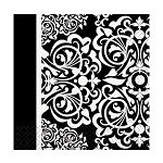Black & white Damask BEVERAGE NAPKIN