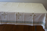 Gold and silver divinity plastic tablecloth
