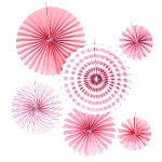Pink 6pc paper fan set