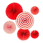 RED 6ct paper fan set