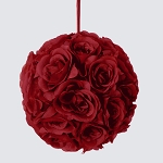 BURGUNDY Silk pomander flower ball