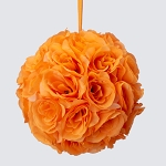 ORANGE Silk pomander flower ball
