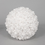 Foam Rose Flower Ball WHITE