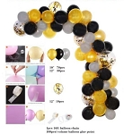 Black, gold, silver balloon garland