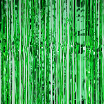 Emerald metallic fringe curtains