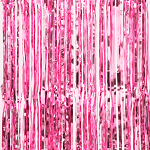 Pink metallic fringe curtains
