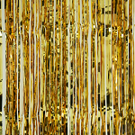 Gold metallic fringe curtains
