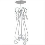Metal candelabra with hanging crystals