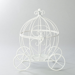 Wire white open top pumpkin carriage