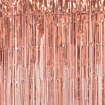Rose gold metallic fringe curtains